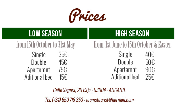 prices rooms alicante low cost
